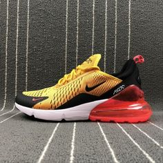 wholesale dealer 3e41d 59e67 Nike Air Max 270 Latest Styles Running Shoes 2018 Flyknit White Black  Yellow AH8050-706
