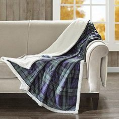 Blue Green Plaid Pattern Oversize Heated Blanket 60Wx70L Tartan Checkered Sofa Throw Features 3 Heat Settings Super Soft Extra Warmth Winter Season Bedding Polyester