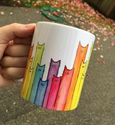 Cat Mug Rainbow Cats Ceramic Mug Cute Coffee Mug Whimsical Animals Funny Gift Cat Lover Coworker Gift Animal Mug Rainbow Mug Cat Lover Gifts, Cat Gifts, Cat Lovers, Funny Mugs, Funny Gifts, Diy Becher, Cute Coffee Cups, Painted Coffee Mugs, Pottery Painting Designs