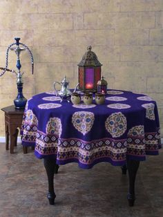 Sultans Palace ~ Purple Blue Moroccan Vintage Round Tablecloth