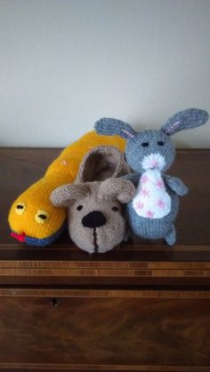 Hand Knitted Kipper's Toy Box  - Rabbit, Slipper and Mr. Snake by Jules4CF on Etsy