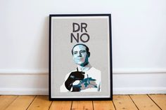 Dr No Stylised Poster Print. The first James Bond Villain Dr No as portrayed by Joseph Wiseman in the 1962 film. Your poster will be printed on
