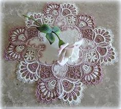 Preview Mauve Rose Lace Dresser Scarf Table Runner Pink 35' Doily