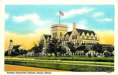Peoria Illinois IL 1920s Bradley Polytechnic Institute Antique Vintage Postcard Peoria Illinois IL 1920s Bradley Polytechnic Institute. Unused Curteich collectible antique vintage postcard in excellen
