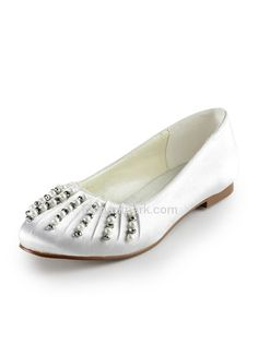 Ivory Almond Toe Flat Satin Pearls Wedding Evening Party Shoes