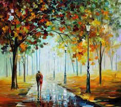 Leonid Afremov, Fall Love, 2013 Afremov, Leonid. Fall Love. 2013. N.p. In this painting two people, who are in love, are walking down a path underneath beautiful trees and colors. This symbolizes that when you are in love or love something the world really does look more beautiful.