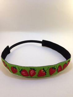 Strawberries on green non-slip headband for everyday and active wear on Etsy, $8.00