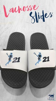 Personalized lacrosse slides. Choose from dozens of designs, add your jersey number, team name and more.