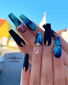 17 awesome coffin nails designs 2019 14 - Celia Na. Glam Nails, Fancy Nails, Bling Nails, 3d Nails, Beauty Nails, Nail Swag, Cute Acrylic Nail Designs, Nail Art Designs, Nagel Bling