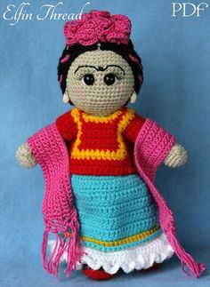 This is a pattern to make the Frida Kahlo doll, inspired on the well-known Mexican painter. The finish doll size is about 13 (32.5cm) standing. Warning: the doll cant stand on its own. The PDF pattern is available in English (American standards). The skill level is easy/intermediate, but dont worry: if youre a beginner, the pattern includes detailed instructions easy to follow, with demonstrative pictures and extra tutorials as an appendix. To make the doll you need few things: scraps of...