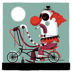 Whino the Clown by Don Clark (Invisible Creature) - Bicycle Art - Gallery Invisible Creature, Bike Poster, Bicycle Print, Pierrot, Send In The Clowns, Music Artwork, Cycling Art, Bike Art, Skateboards