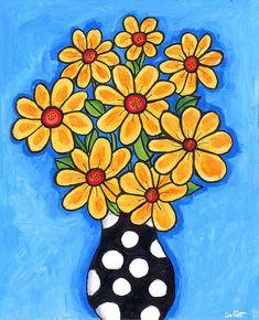 Shelagh Duffett Easy Canvas Painting, Painting For Kids, Acrylic Paintings, Owl Paintings, Folk Art Flowers, Flower Art, Art Drawings For Kids, Art For Kids, Aquarell Tattoo
