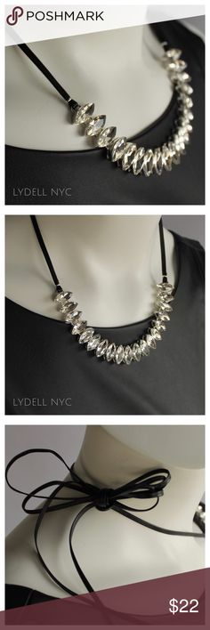 """NWT Lydell NYC Maquise Crystals w/Leather Straps NWT leather strap necklace with 6"""" row of marquise faux crystals at center.  Tie the long strap at varied lengths to adjust the necklace, or wrap into a choker necklace.   Measurements: 77"""" length overall: crystal component 6"""", adjust to desired length Condition: NWT, no flaws. Lydell NYC Jewelry Necklaces"""