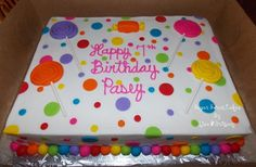 White almond cake w/strawberry filling, iced in buttercream w/hand made fondant lollipops, candy, ball border. Cake Candy, Candy Theme, Candy Party, Pastel Rectangular, White Almond Cakes, Sheet Cake Designs, Birthday Sheet Cakes, Balloon Cake, Birthday Candy