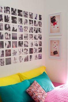 Esta cabeceira, fácil de ser feita em casa, é uma composição de imagens. O morador pode selecionar uma série fotográfica da família ou até escolher um conjunto de fotos de que goste.