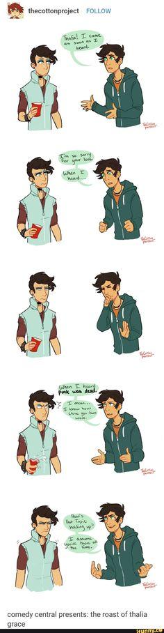 Percy roasting Thalia