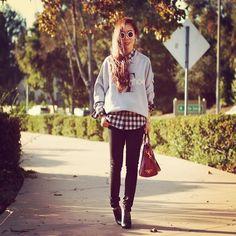 Shop this look on Kaleidoscope (sweatshirt, shirt, bootie, purse, sunglasses, necklace)  http://kalei.do/WQHs03SPv8KEjbw7
