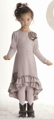 """Kate Mack """"Confetti Hearts"""" Precious High-Low Pink Stripe Dress *PREORDER*Sizes 4-10 - click to enlarge"""