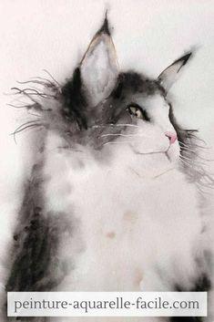 """Un chat à poils longs à la peinture aquarelle avec la technique humide. Tuto disponible dans le Club Aquarelle et la formation """"Tout connaître sur les techniques aquarelles"""" Club, Crayon, Abstract, Artwork, Animals, Deco, Budget, Watercolor Cat, Easy Watercolor"""