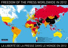 This map shows the press freedom index of 2012.