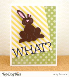 OMG! What a great play on the way we ALLLLL eat chocolate Easter Bunnies! This card is perfect for spring! Made with Top Dog Dies and Echo Park Paper.