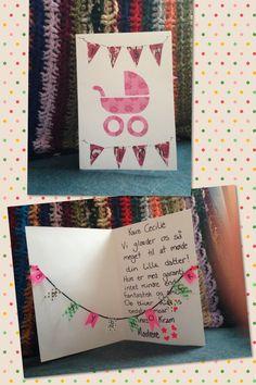 Babyshower kort til Cecilie