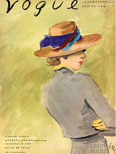 """Vogue"" (January - Cover illustration by American illustrator Carl ""Eric"" Erickson Vogue Vintage, Vintage Vogue Covers, Moda Vintage, Vintage Art, Vintage Beauty, Vintage Prints, Vogue Magazine Covers, Fashion Magazine Cover, Fashion Cover"