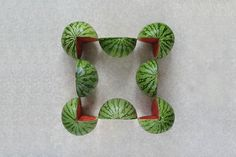 Watermelon - Turkish artist and photographer Sakir Gökçebag has an entire series of photographs showing various fruits and vegetables carefully sliced up and placed into neat arrangements.