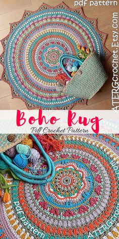 Bright and colorful boho rug. Make your own stunning boho crochet rug. This Ibizia boho style rug will look amazing in my living room! #bohorug #ad #ibizastyle #crochet #pattern