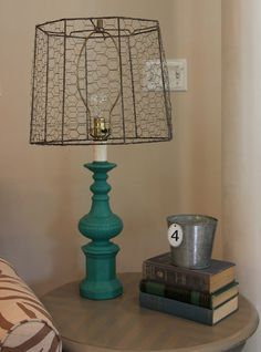Chicken wire lampshade decorative ideas pinte old lamp shade covered in chicken wire greentooth Image collections