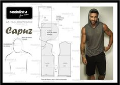 Modelista - For Men, sleeveles t-shirt with hoodie Mens Sewing Patterns, Sewing Men, Clothing Patterns, Dress Patterns, Diy Couture, Couture Sewing, Diy Clothing, Sewing Clothes, Moda Afro