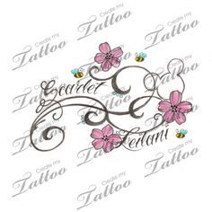 flowery hidden mickey with kids names custom tattoo | flowers2 #38894 | CreateMyTattoo.com