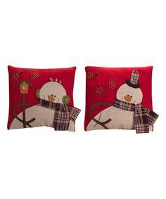 Look at this #zulilyfind! Snowman Throw Pillow - Set of Two by Melrose #zulilyfinds