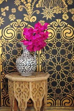 ledecorquejadore: I love this wall Moroccan wall decor! (via Use Moroccan Stencils for Ceilings, Walls, Floors, and Furniture Moroccan Stencil, Moroccan Design, Moroccan Decor, Moroccan Style, Moroccan Wallpaper, Moroccan Pattern, Moroccan Room, Moroccan Print, Arabesque