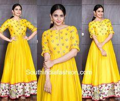 Rakul Preet Singh in Drama Queen yellow gown for Raarandoi Veduka Choodham promotions Yellow Wedding Dress, Yellow Dress Summer, Yellow Gown, Dress Wedding, Indian Designer Outfits, Designer Gowns, Indian Outfits, Kurta Designs Women, Blouse Designs
