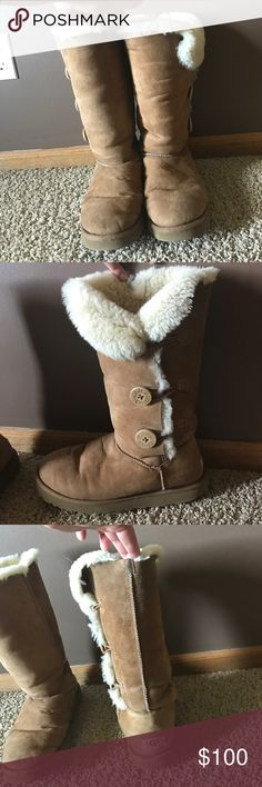 Bailey Button Triple Uggs Chestnut worn uggs but in very good condition!! already broken in and still very good quality with lots and lots of life left in them! very warm UGG Shoes Winter & Rain Boots