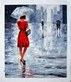 New Hand Painted Original Abstract Portrait Oil Painting Paintings Canvas Rain Umbrella Painting, Rain Painting, Oil Painting On Canvas, Abstract Portrait, Abstract Art, Acrylic Canvas, Canvas Art, City Rain, Bedroom Pictures