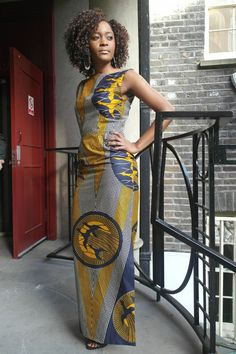 Print Maxi Dress Sapelle African tribal print cotton dress, fully lined, with a side slit to the knee. Sleeveless with boat ne. African Inspired Fashion, African Print Fashion, Africa Fashion, Ankara Fashion, India Fashion, Asian Fashion, African Attire, African Wear, African Women