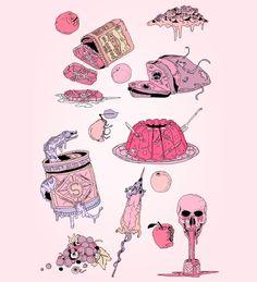 "Ston-Henge: "" ""naked brunch "" "" "" ref: illustration "" в Pretty Art, Cute Art, Witch Art, Aesthetic Drawing, Pastel Art, Kawaii Art, Oeuvre D'art, Cute Stickers, Les Oeuvres"