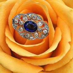 Since its #filigreefriday we thought we'd share one of our newest antique additions. We're quite obsessed with this Edwardian filigree sapphire and diamond pin. With detailed milgrain, a vibrant natural blue sapphire & sparkling old European cut diamonds, we plan to convert this pin to a ring in the upcoming weeks.  DM us if you are interested in the finished product and we'll message you the details.  #antique #antiquepin #antiquering #edwardianera #edwardian #edwardianjewelry #filigree…