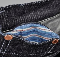 coin pocket from Hickoree's Type 129-TH-S limited edition slim-straight 17 oz japanese selvedge denim.