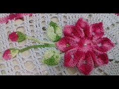 Flor, Botões e Folhas em Crochê Para Aplicações em Tapete de Barbante Oval Com Cristina Coelho Alves - YouTube