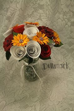 Red Yellow and White Paper Flower Bouquet  Novelty by Dollmark, $45.00