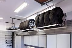 Tire racks in garage