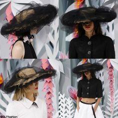 Hybrid headwear design: Chic black tulle + Peasant straw Hat at ChanelSpring Summer 2015 Haute Couture PFW. #chanelhautecouture