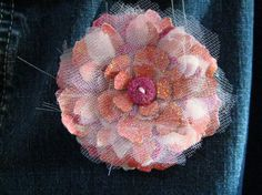 Brooch made from Tattered Florals Sizzix die, Art Glitter and sticky-back canvas -