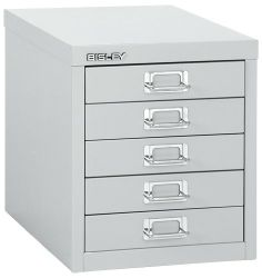 """5 drawer 12 series Multidrawer (non-locking) by Bisley. $129.00. Keep Desktop Clutter Under Control Just over a foot tall, this mini steel cabinet fits atop your desk or counter. Five drawers provide generous storage space for paper, stationery, office supplies and crafts. The non-locking, removable drawers fit 8.5"""" x 11"""" letter size and A4 size paper. Classic-style label holders offer easy identification. Rubber feet on the bottom of the cabinet protect your desk. Add optio..."""