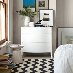 Throw a great black and white chevron rug into the mix - a great statement piece