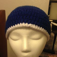 Blue And White Handmade Beanie