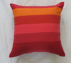 orange and red striped linen floor pillow cover. 24 inches. Custom maid to choice of size up to 36 inches.